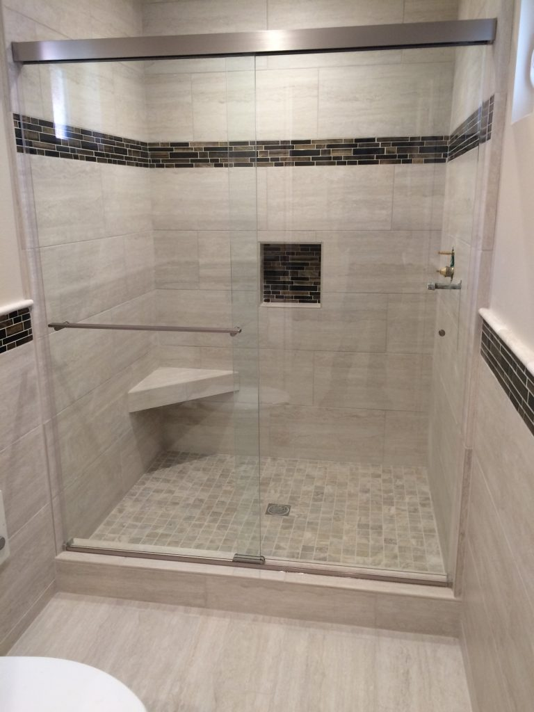 Nice walk in shower with new tile installed